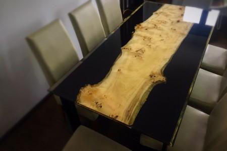 Măsă lemn masiv și rășină epoxidica, 180 x 90 x 80