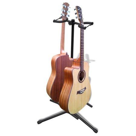 Stativ dublu pliabil și reglabil pentru chitară