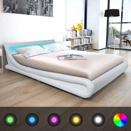 Cadru de pat din piele artificiala cu LED, 160 x 200 cm, Alb