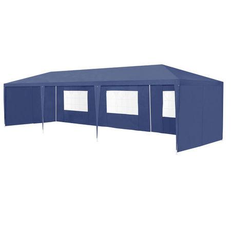 [casa.pro]® Pavilion gradina AAGP-9604, 900 x 300 x 255 cm, metal/polietilena, albastru inchis