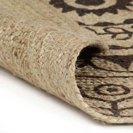 Covor manual cu imprimeu maro închis, 120 cm, iută
