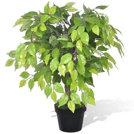 Ficus pitic artificial cu aspect natural și ghiveci, 60 cm