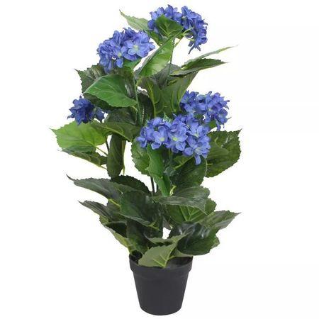 Plantă artificială hydrangea cu ghiveci, 60 cm, albastru