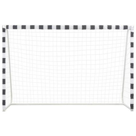 Poartă de fotbal, negru și alb, 300 x 200 x 90 cm, metal