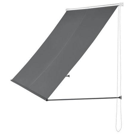 [pro.tec]® Copertina paravan solar retractabila montabila pe perete, 350 x 120 cm, otel/poliester, gri