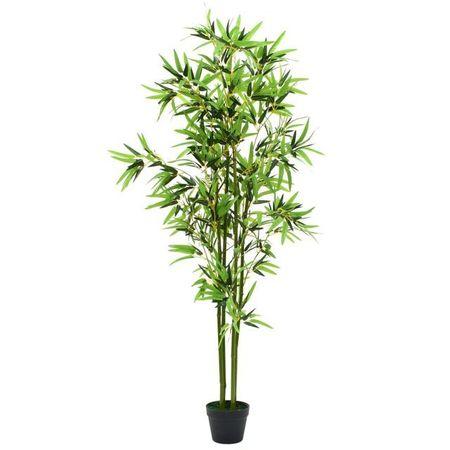 vidaXL Plantă bambus artificial cu ghiveci 175 cm, verde