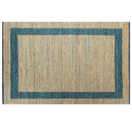 Covor manual, albastru, 80 x 160 cm, iută