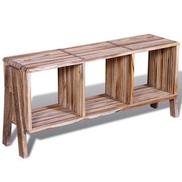 Comodă TV cu 3 rafturi stivuibilă din lemn de tec reciclabil