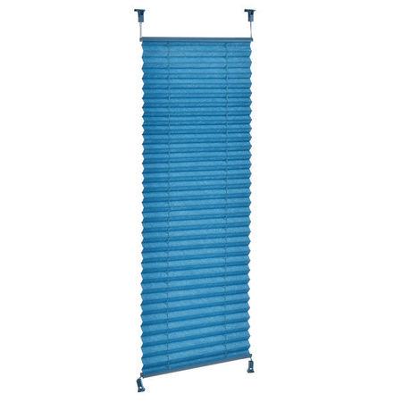 Roleta / perdea plisata - 55x125 cm - albastru turcoaz- protectie impotriva luminii si a soarelui - jaluzea - fara gaurire