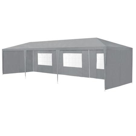 [casa.pro]® Pavilion gradina AAGP-9604, 900 x 300 x 255 cm, metal/polietilena, gri inchis