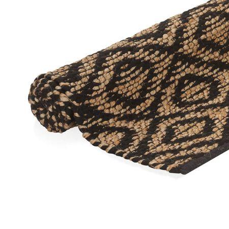 Covor iută lucrat manual, natural și negru, 120x180 cm, textil