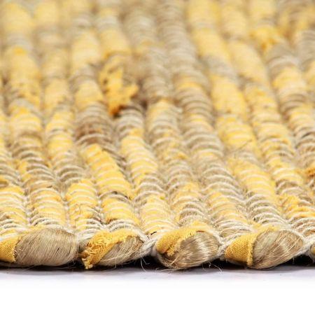 Covor manual, galben și natural, 160x230 cm, iută