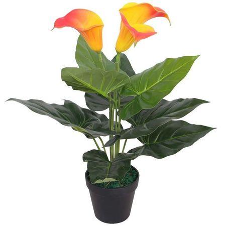 Floare de crin cală artificială cu vază, 45 cm, roșu și galben