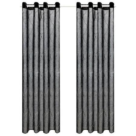 Perdele transparente cu broderie, 2 buc., 140 x 225 cm, negru