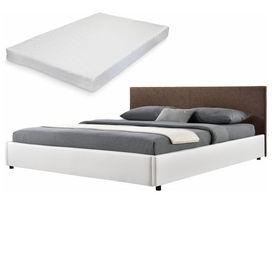 Corium® [my.bed] Pat frantuzesc elegant - cu saltea cu spuma recel - 140x200cm (Partea capului: imitatie de piele Wild maro Rama: imitatie de piele alb) - cu rama pat