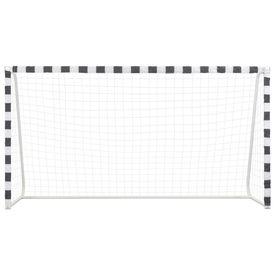 Poartă de fotbal, negru și alb, 300 x 160 x 90 cm, metal