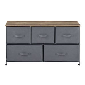 Comoda cu sertare Dona, 55 x 100 x 29 cm, metal/poliester/MDF, gri/efect lemn, cu 5 sertare