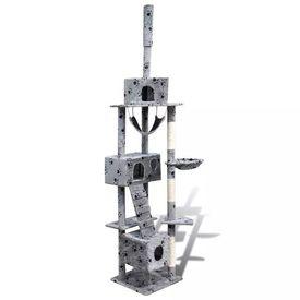 Ansamblu de joacă cu stâlp 220-240 cm 3 căsuțe Gri cu urme de lăbuțe