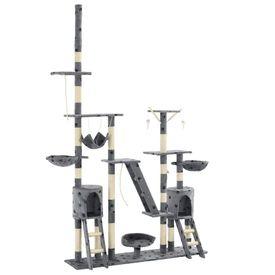 Ansamblu pisici cu funie sisal, 230-250cm, imprimeu lăbuțe, gri