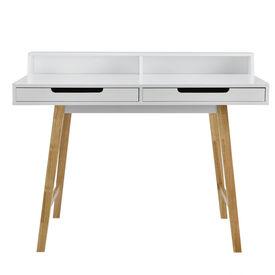 Birou design retro Bremen, cu 2 sertare si 1 scaun, MDF/lemn fag/plastic, 85 x 110 x 60 cm, alb
