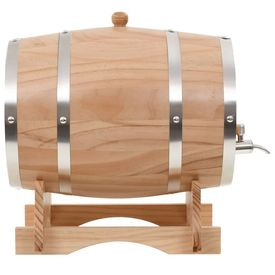 Butoi de vin cu robinet, 12 L, lemn masiv de pin