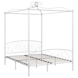 Cadru de pat cu baldachin, alb, 160 x 200 cm, metal