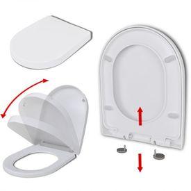 Capac WC pătrat cu închidere silențioasă și demontare rapidă, alb