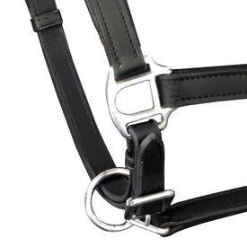 Căpăstru reglabil din piele naturală, pentru ponei, negru