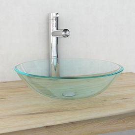 Chiuvetă din sticlă călită transparentă, 42 cm