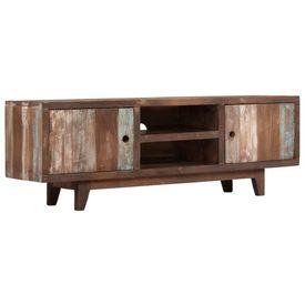Comodă TV din lemn masiv de acacia, vintage, 118 x 30 x 40 cm