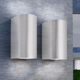 Corp iluminat LED perete exterior 2 buc, rotund, sus/jos