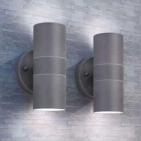Corp iluminat perete exterior 2 buc, oțel inoxidabil, sus/jos