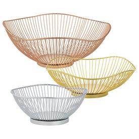 Cos fructe elegant - set 3 bucati decoratie (auriu, roze, argintiu)