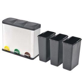 Coș gunoi cu pedale pentru reciclare, oțel inoxidabil, 3 x 18 L