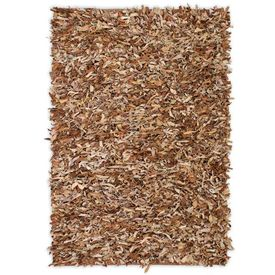 Covor fire lungi, piele naturală, 160x230 cm, Bronz natural