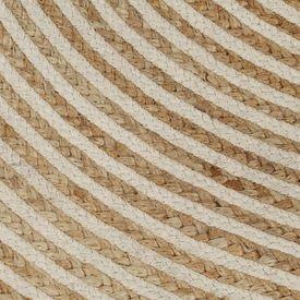 Covor manual cu imprimeu spirală, alb, 120 cm, iută