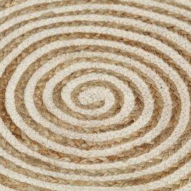 Covor manual cu imprimeu spirală, alb, 90 cm, iută