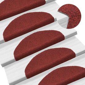 Covorașe autocolante de scări, 15 buc, 65 x 21 x 4 cm, roșu