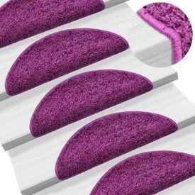 Covorașe de scări, 15 buc., violet, 56 x 20 cm