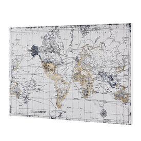 Design fotografie de perete imprimata pe hartie pergament - harta lumii Model 2- cu rama ascunsa - 60x90x3,8cm