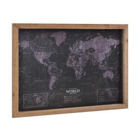 Design fotografie de perete pe foaie de PVC cu argint Modell 6 - Harta lumii , 50x70x2,5cm, cu rama lemn