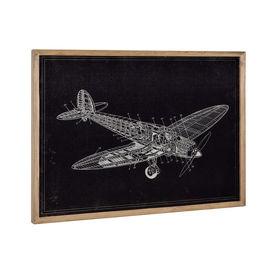 Design fotografie de perete pe placa de aluminiu Modell 13 - avion (desen tehnic), 50x70x2,8cm, cu rama lemn