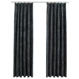 Draperii opace cu cârlige, 2 buc., antracit, 140x245cm, catifea