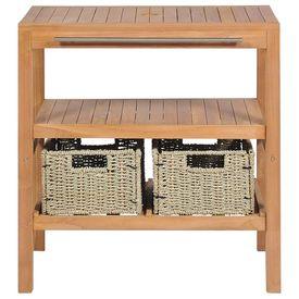 Dulap de chiuvetă cu 2 coșuri, lemn de tec masiv, 74x45x75 cm