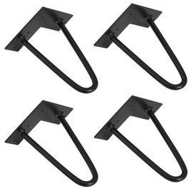 [en.casa]® Set 4 bucati picioare Hairpin Model 1, pentru masa – 2 brate,30 cm, negru