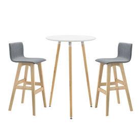 [en.casa]® Set Retro-design masa bar rotunda cu 2 scaune, masa (Ø x inaltime): 70 x 107 cm, scaun 98 x 48 x 49 cm, MDF/lemn de fag/poliester, gri/alb