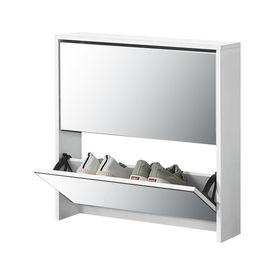 [en.casa] Pantofar Toni, 67 x 63 x 17 cm, PAL melaminat/ oglinda, alb cu 2 compartimente depozitare, 6 perechi pantofi
