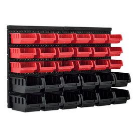 [en.casa] Sistem raft depozitare cu 32 compartimente ABPS-0451, 410 x 640 x 175 mm, 2,2 Kg, polipropilena, negru/rosu, montabil pe perete