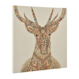 Fotografie de perete decorativa - cerb Model 2- imprimat panza in, cu rama ascunsa - 80x80x3,8cm