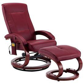 Fotoliu masaj rabatabil cu taburet, roșu vin, piele ecologică